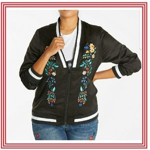 Simply Be Deep Neck Embroidered Bomber Jacket